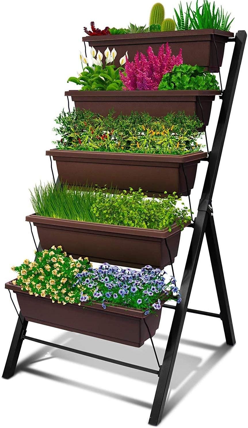 4Ft Vertical Raised Garden Bed - 5 Tier Food Safe Planter Box - Best Indoor Vertical Vegetable Garden