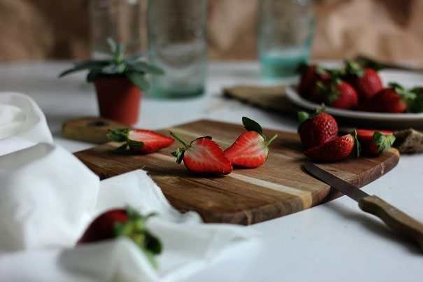 Hydroponic Strawberries on the cutting board and on the plate
